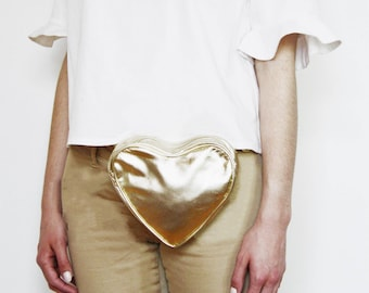 NEW. Pink Heart Leather Bag. Valentine's Gift. Nude and Gold. Spring Fashion Fanny Pack SS17