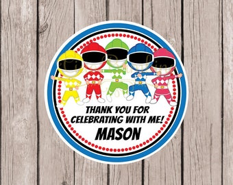 PRINTABLE Ranger Birthday Party Favor Tags / Print Your Own Personalized Stickers for Party Favors / Superhero Rangers / You Print