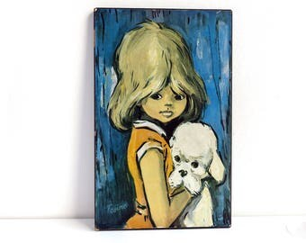 Vintage Big Eyed Art Wall Hanging, Girl with Poodle Dog, Signed Torino, Room Decor Painting, 16x10, Art Gift Ideas