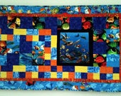Under the Sea Quilted Wall Hanging, Sea Life Art Quilt, Turtles, Fish Quilted Wall Hanging