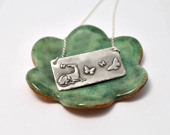 Hurt No Living Thing Necklace - Greyhound - Poetry - Animal Lover - Animal Advocate Jewelry - Animal Welfare -  Sterling Silver - Butterfly