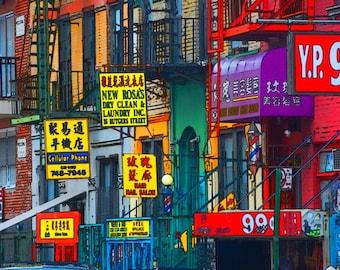 New York Chinatown Street scene signs NYC Manhattan print on canvas 28X22 wall art pop art gallery wrap