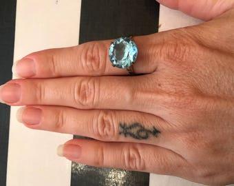 Vintage ring aquamarine ring sterling ring 1960s ring statement ring size 9 cocktail ring aqua ring