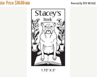 Xmas in July Custom Ex Libris Bulldog Adorable Bookplate Stamp A25