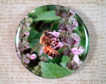 Large Bee Keeper Pin, Magnet or Pocket Mirror, 2.25'' Inch, Save the Bees, Bee Lover Gift, Honey Bees, Bee Club Pin, Bee Keeping Pin,G