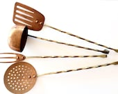 Vintage Copper and Brass Utensils. Copper Serving Utensil Set. French Farmhouse Kitchen Ladle, Spatula, Strainer.
