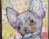 Lavender Chihuahua Torn Paper Painting OOAK