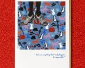 """MARY POPPINS mary poppins greeting card.  features faerie tale feet painting """"perfectly mary poppins.""""  blank inside"""