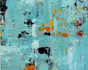 """Original Abstract Painting -- Light on Water I -- 4 x 4"""""""
