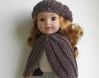 "Brown Crochet Cape and Beret Handmade to fit 14.5"" Wellie Wishers and Similar Dolls"