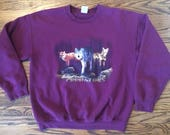 Vintage 1990's mens or womens wolf pack marroon colored pullover sweatshirt. Size large