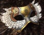 RESERVED for Alisa, The Thirteenth Hour ...  steampunk barn owl leather masquerade mardi gras halloween burning man harlequin costume
