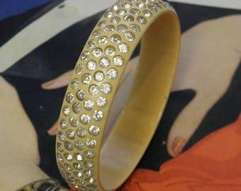 Vintage Celluloid Bangle Bracelet Rhinestones