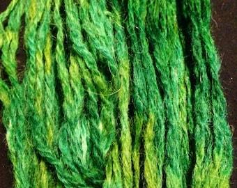 Poncho-Alpaca handspun and hand painted greens yarns