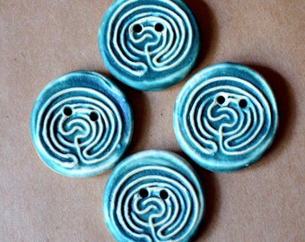4 Handmade Ceramic Buttons - Large Labyrinth Buttons in Blue Green Stoneware - Knitting and Crochet Supplies - Celtic Buttons - Artisan