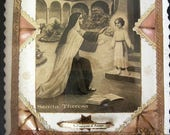 40% off SALE 1930s French Framed Reliquary St Francis Sepia Image St Terese