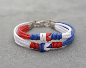 Couples Bracelet, Love Knot Long distance Sailing Nautical Bracelet Set, 4th of july, Her His Bracelet, Matching bracelets, Couples gift