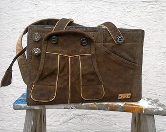Unique Brown Leather Bag - Leather Shoulder Bag - Leather Handbag - Women's Leather Bag - German Boy's Leather Lederhosen Upcycled