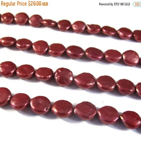 Summer SALEabration - Red Freshwater Coin Pearls, Deep Red Coin Pearl Beads, 8.5mm - 9.5mm, 16 Inch Strand, About 48 Pearls, Round, Flat Pea