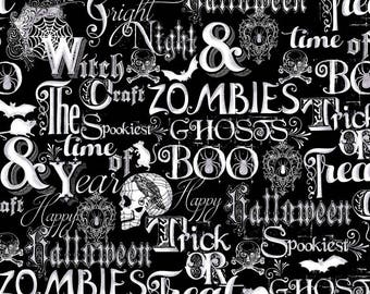 NEW from Henry Glass, Fright Night, Metallic words and skulls on black/grey,  yard