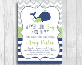 Boy's Whale Baby Shower Invites, Navy Blue, Green, Gray Nautical Invitations, 5x7 Printable Invitations - Summer Baby Shower