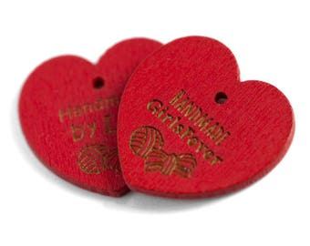 Red heart shaped wooden hang tags 100 pcs Custom labels Valentine favor