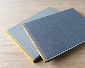Long Stitch Photo Album or Mixed Media Journal with Yellow and Gray Linen Covers
