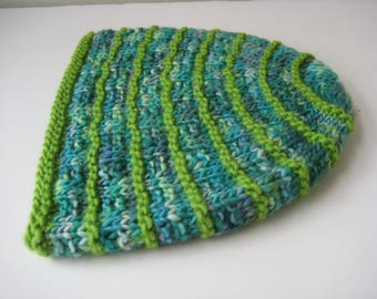 hand knit blue green hat wool knit cap