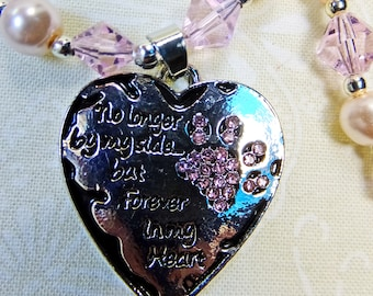 No Longer By My Side But Forever in My Heart Pewter Pendant w Pink Rhinestone Paw Print, Pink Glass Pearls and Pink Crystals Beads Necklace