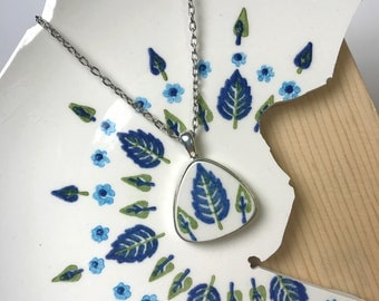Blue & Green Leaves Broken Dishware Necklace