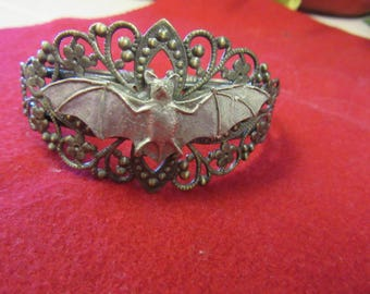 Handsome Bat Environment Friendy and Halloween Star Pewter and Brass Bracelet-one of a kind