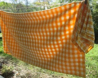 Vintage Yellow and White Checked Tablecloth - Country Kitchen - Yellow Cotton Gingham Tablecloth - Three Matching Napkins
