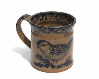 Vintage Stoneware Pottery Mug Bird Signed Becky Mummert E. Berlin PA Dated 1996 Handmade 12 ounce Coffee Mug Primitive Folk Art Ceramic Mug