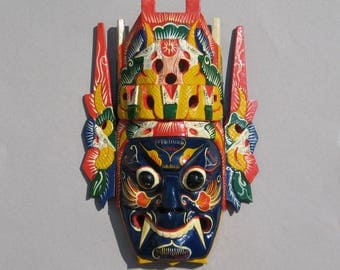 Colorful Vintage Hand Carved Mask Decorative Hand Painted Ceremonial Mask Vibrant Exotic Wall Decor