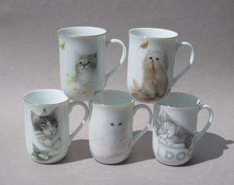Otigiri Cat Mugs Bob Harrison Design Set / 5 Jonah's Workshop Inc Otigiri Japan Kitten Coffee Mugs 1980s Vintage