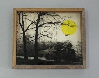 1970s Reverse Painted Glass Photo Wall Art Park Scene Shadow Box Reverse Printed Glass Jerome Creations Sunrise Sunset