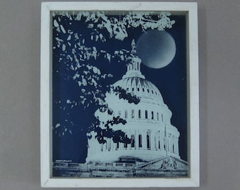 1970s Reverse Painted Glass Photo Wall Art Capitol Dome Shadow Box Reverse Printed Glass Jerome Creations Washington D.C. by Moonlight