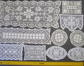 Lot 10 Mixed Filet Lace Crochet Cotton Doilies Vintage 1930s Art Deco White Ecru