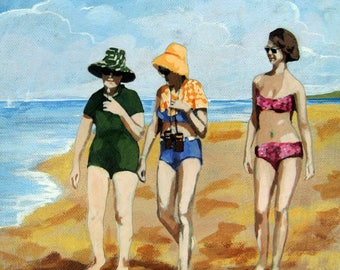 WOMEN on the BEACH mixed media print from original painting