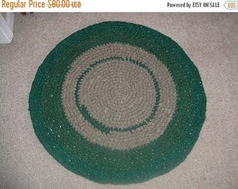 """25% OFF STORE SALE Crochet Rag Rug   31"""" Round Forest Green"""