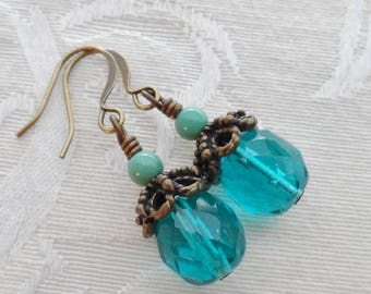 50% Off- Turquoise Bead, Teal Czech Glass Earrings, Antique Brass