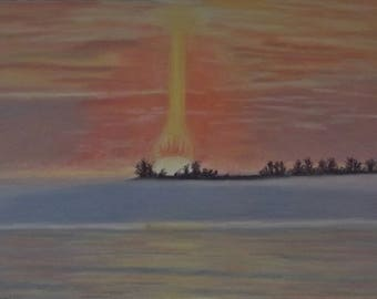 "Original pastel painting ""Daybreak on Amherst Island Number Twelve "" 8"" x 11"" neither mat nor frame are included"