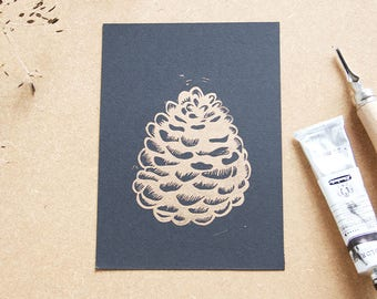 Gold Pinecone lino print, limited edition