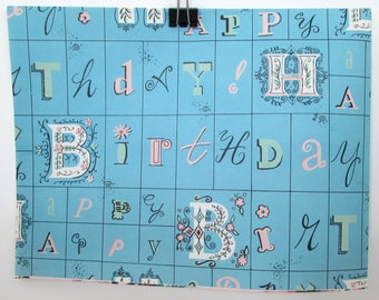 Vintage Gift Wrap - Vintage Wrapping Paper - Happy Birthday - 1960s - Mid Century - typography