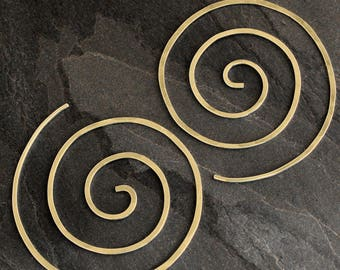 Spiral Earrings 14k Gold Fill Size Large Nautilus Swirl Koru Spiral Handmade Clean Line 14 Karat Gold Filled Earring Infinity Swirl Koru