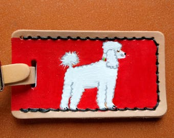 Luggage Tag with White Poodle