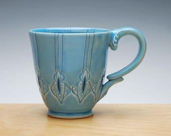 Deco mug in Aqua gloss w. Navy Polka pinstripes & detail, Victorian mod handmade cup