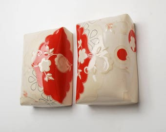 Wall pillow diptych in Candy Red & Ivory w. Pink polka dots, Floral, and Navy detail,  Victorian modern Home decor art