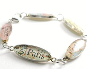 SUMMER SALE Charm Bracelet Map Sterling Silver, You Select Any 5 Places from Around the World, will you be my bridesmaid