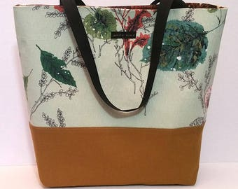 Handmade Tote Bag - large - vintage barkcloth